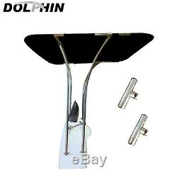 Dolphin Adjustable Basic T TOP Stainless Bimini Boat T Top With 2 Rod Holders