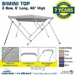 Gray BIMINI TOP 3 Bow Boat Cover 600D UV Waterproof (73-78) Rear Poles Frame