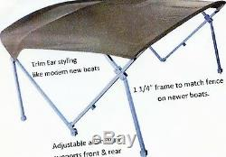 Gray Deluxe 1 1/4 frame 8' Pontoon Boat (Bimini) top OEM Grade Gray