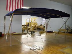 Houseboat Bimini Top 10' x 8' Sunbrella -1Frame Metal Fittings Front Braces