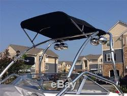 Krypt Folding Over Wakeboard Tower Mounted Bimini Top Cover Canvas Frame