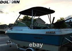 NEW! Dolphin walk around t top wakeboard tower bimini top WHITE with 2 rod holders