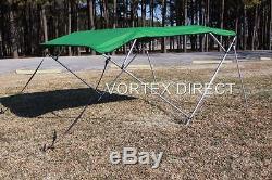 NEW VORTEX GREEN 4 BOW PONTOON/DECK BOAT BIMINI TOP 10' long 73-78 wide