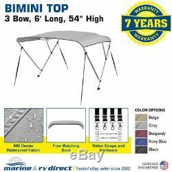 New 4 Seasons Brand Boat Bimini Top Cover 3 Bow 54H x 67-72 W Gray