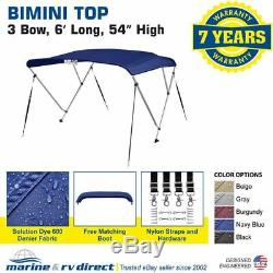 New 4 Seasons Brand Boat Bimini Top Cover 3 Bow 54H x 67-72 W Navy Blue