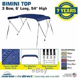 New 4 Seasons Brand Boat Bimini Top Cover 3 Bow 54H x 67-72 W Navy Blue