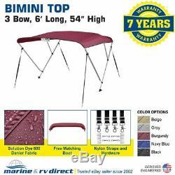 New 4 Seasons Brand Boat Bimini Top Cover 3 Bow 54H x 73-78 W BURGUNDY