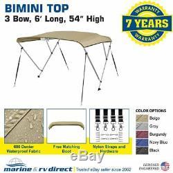 New 4 Seasons Brand Boat Bimini Top Cover 3 Bow 54H x 79-84 W Beige