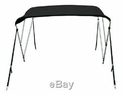 New Bimini Top Boat Cover 3 Bow 54H x73-78 W Solution Dye Black