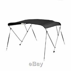 New Bimini Top Boat Cover 3 Bow 54H x79-84 W Solution Dye Black