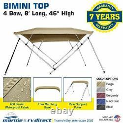 New Bimini Top Boat Cover 4 Bow 46 H 73 78 W Beige 8 Foot Long