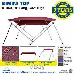 New Bimini Top Boat Cover 4 Bow 46 H 79 84 W 8 Foot Long Burgundy