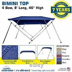 New Bimini Top Boat Cover 4 Bow 46 H 79 84 W 8 Foot Long Navy Blue