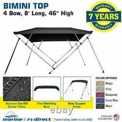 New Bimini Top Boat Cover 4 Bow 46 H 79 84 W 8' Long Solution Dye Black