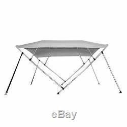 New Bimini Top Boat Cover 4 Bow 54 H 73 78 W 8 ft. Long Gray