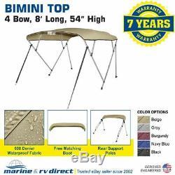 New Bimini Top Boat Cover 4 Bow 54 H 85 90 W 8 ft. Long Beige
