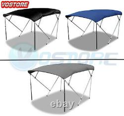 New Bimini Top Boat Roof Cover 4 Bow Canopy Cover 8ft Long 600D With Rear Poles