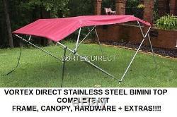 New Burgundy Vortex Stainless Steel Frame Bimini Top 8 Ft Long, 97-103 Wide