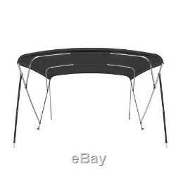 New Pontoon Bimini Top Boat Cover 4 Bow 54 H 91 96 W 8 ft. Long Black
