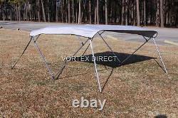 New Vortex 4 Bow Pontoon/deck Boat Bimini Top 10' Long, Grey, 91-96 Wide