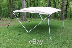 New Vortex Square Tube Frame 4 Bow Pontoon/deck Boat Bimini Top 12' Beige 91-96