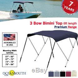 Oceansouth 3 Bow Bimini Top PREMIUM RANGE Boat Cover 6ft Long with Rear Poles