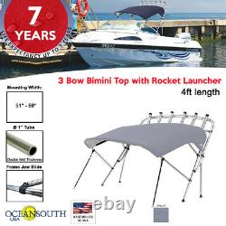 Oceansouth 3 Bow Bimini Top with Rocket Launcher 4ft Length 51- 59 Gray