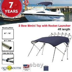 Oceansouth 3 Bow Bimini Top with Rocket Launcher 4ft Length 67- 75 Blue