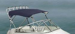 Oceansouth 3 Bow Bimini Top with Rocket Launcher 4ft Length 83- 90 Black