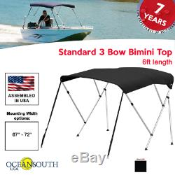 Oceansouth BIMINI TOP 3 Bow Boat Cover Black 67-72 Wide 6ft Long With Rear Poles
