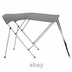 Oceansouth BIMINI TOP 3 Bow Boat Cover Gray 67-72 Wide 6ft Long With Rear Poles