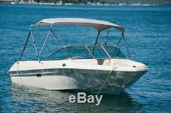 Pactrade Marine Boat 3 Bow Bimini Top Canopy Cover UV Waterproof Grey Pigment