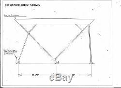 Pontoon Bimini Top 10' Long -5 Year Warranty Fabric- 1.25 Frame Metal Fittings