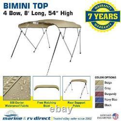 Pontoon Bimini Top Boat Cover 4 Bow 54 H 85 90 W 8 ft. Long Beige