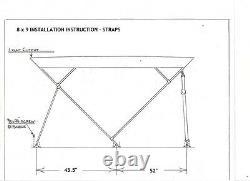 Pontoon Boat Bimini Top 8 x 9 5 Year Warranty 1 frame