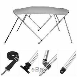 RVMasking 3 / 4Bow Bimini Top Boat Cover With 2 Rear Support Pole + 2 Straps
