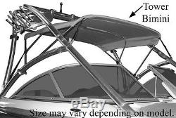 SUPRA SUNSPORT 2003 CUSTOM BIMINI TOP With EMB BOOT FOR BOAT With TOWER, SIGNAL BLUE