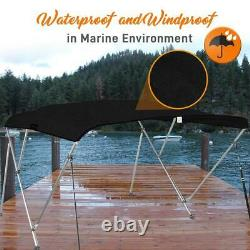 SereneLife 3 Bow 54-60 Inch Bimini Top Boat Cover with Double Walled Frame, Gray