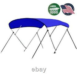 SereneLife 4 Bow 79-84 Inch Bimini Top Boat Cover with Double Walled Frame, Blue