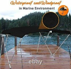 SereneLife 4 Bow Bimini Top Boat Cover Front Hold-Down Straps and Rear Support A