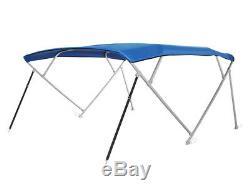 Square Tube Pontoon 4-Bow Boat Bimini Top, 10'L x 97-103W x 54H, Royal Blue