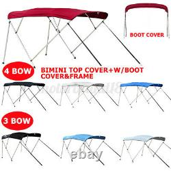 Standard BIMINI TOP 3 / 4 Bow Boat Cover 6/8ft Long w Rear Poles & Storage Boot