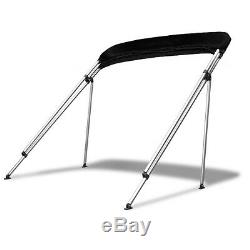Standard BIMINI TOP 4 Bow Boat Cover Black 73-78 Wide 8ft Long With Rear Poles