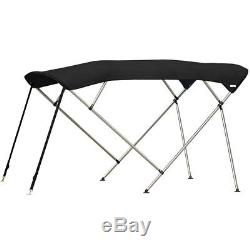 Standard BIMINI TOP 4 Bow Boat Cover Black 79-84 Wide 8ft Long With Rear Poles