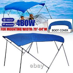 Standard BIMINI TOP 4 Bow Boat Cover Blue 79-84 Wide 8ft Long w Rear Pole Boot