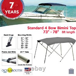 Standard BIMINI TOP 4 Bow Boat Cover Gray 73-78 Wide 8ft Long With Rear Poles