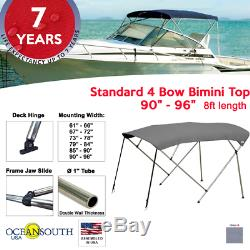 Standard BIMINI TOP 4 Bow Boat Cover Gray 90-96 Wide 8ft Long With Rear Poles