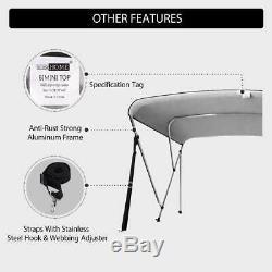 VIVOHOME 67-72/73-78 Grey Boat Bimini Shade Canopy Top Cover 3 Bow & Rear Pole