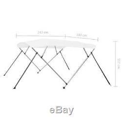 VidaXL 4 Bow Bimini Top Sturdy Weather Resistant White 8'x5.9'x3.8' Boat Cover
