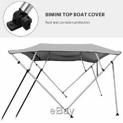 Water Proof 4 Bow Bimini Top Canopy fits Boats with Beam Width 85 to 90 Gray